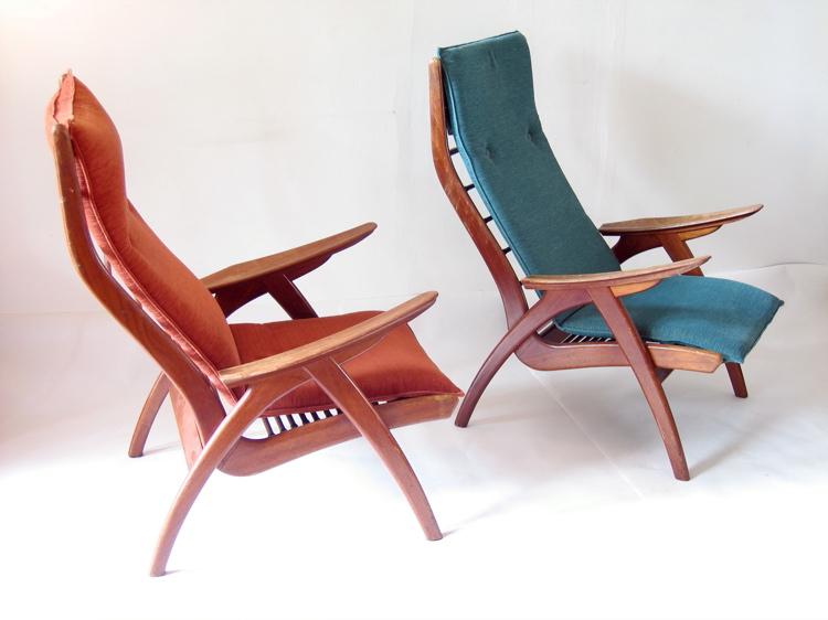 2 Danish organic fifties relax chairs