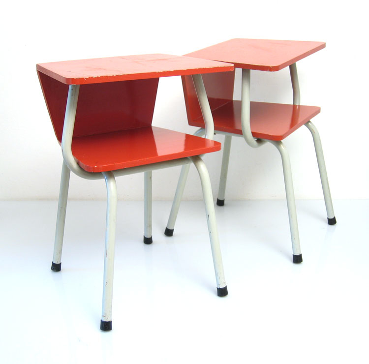2 fifties red retro bedside cabinets