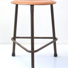 Fifties industrial metal and wood stool