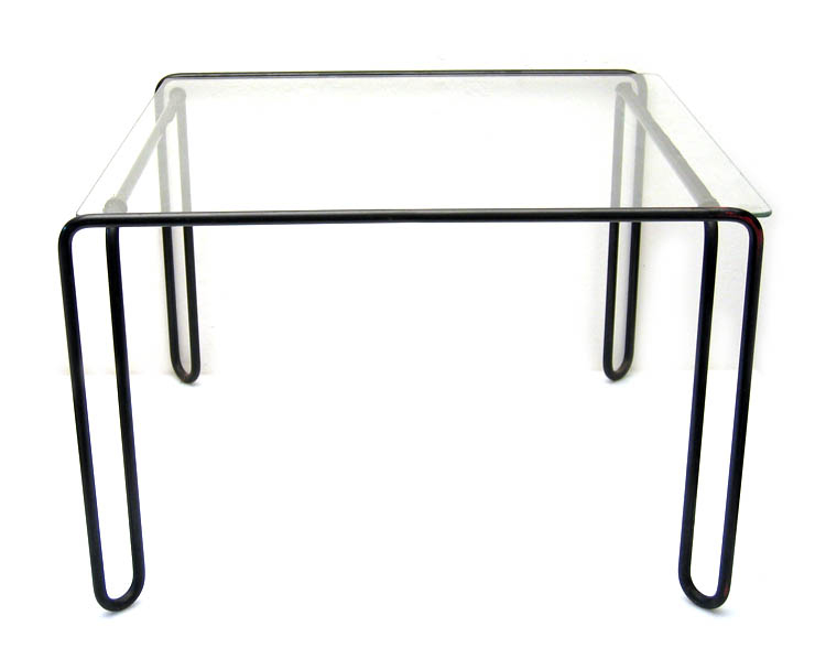 Fifties metal and glass side tables