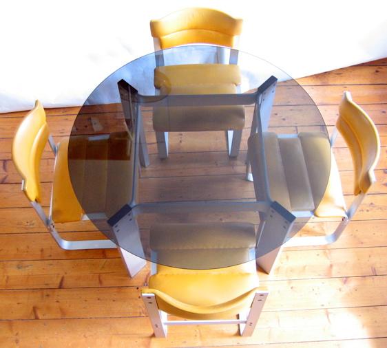 Ilmari Lappalainen Pulkka Aluminium Retro Dining Table And 4 Chairs Eames Braakman Friso