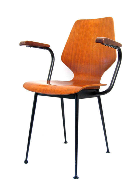 Plywood sixties chair with armrests