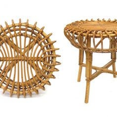 Rotan vintage side table or stool