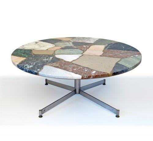 Sixties vintage round stone coffee table