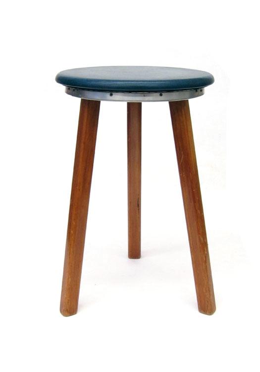 2 Sixties stools , wood and blue vinyl, vintage retro