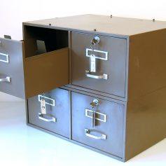 2 stackable, lockable metal file cabinets, grey green, 30s