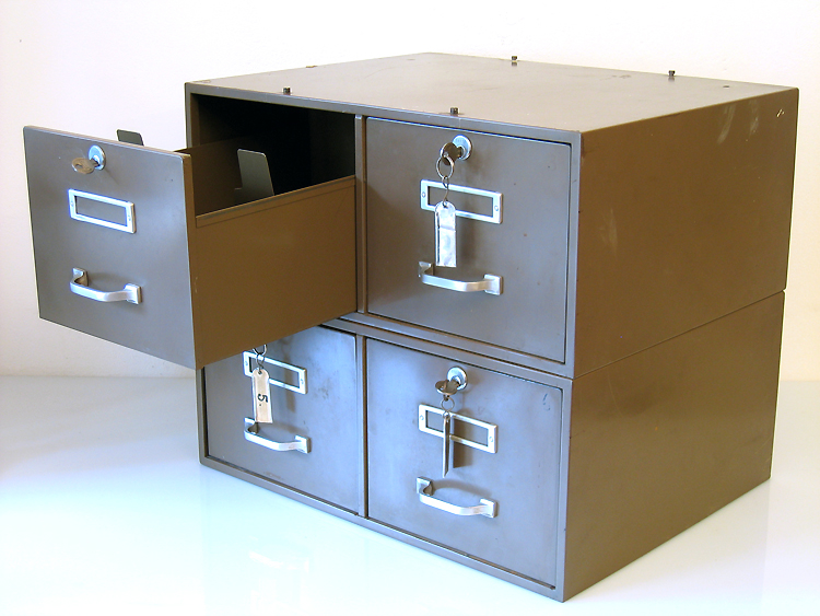 2 stackable, lockable metal file cabinets, grey green, 30s lockable metal filing cabinet