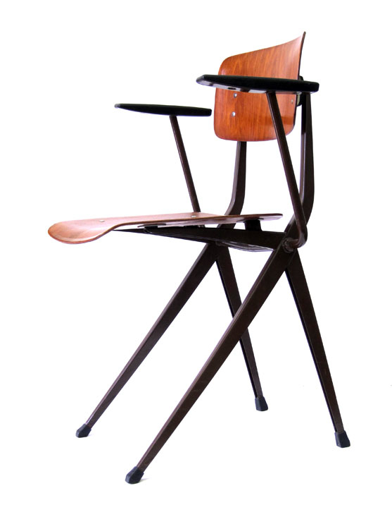 2 vintage Sixties retro chairs with armrests