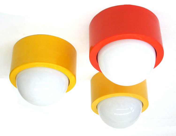 3 seventies ceiling lights, yellow and red, vintage retro