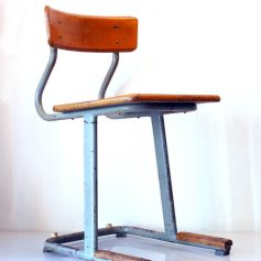 4 50s school chairs, wood and metal, vintage