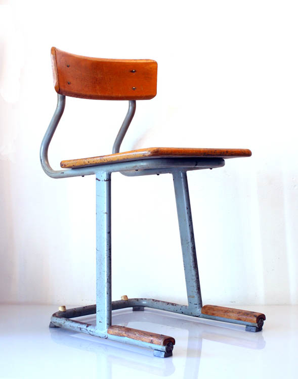 4 50s school chairs, wood and metal, vintage