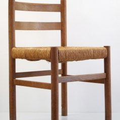 4 Charlotte Perriand style vintage oak chairs