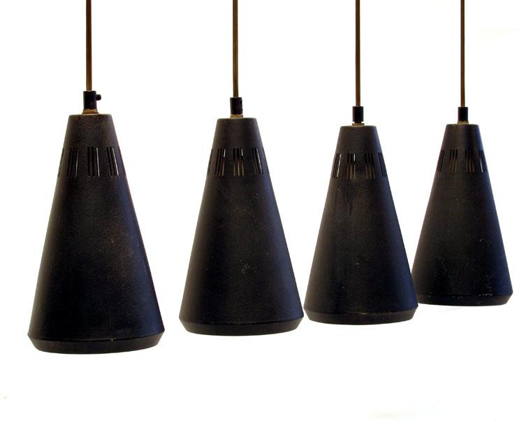 4 Louis Kalff Philips sixties retro pendant lamps