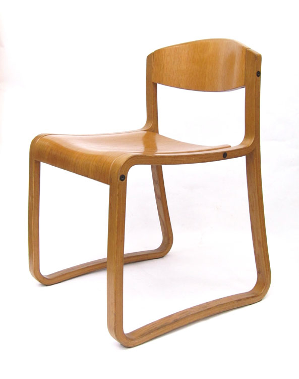 Exceptional 4 Swedish Vintage Plywood Chairs .