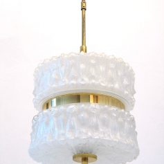 50s lamp worked glass white gold metal vintage retro