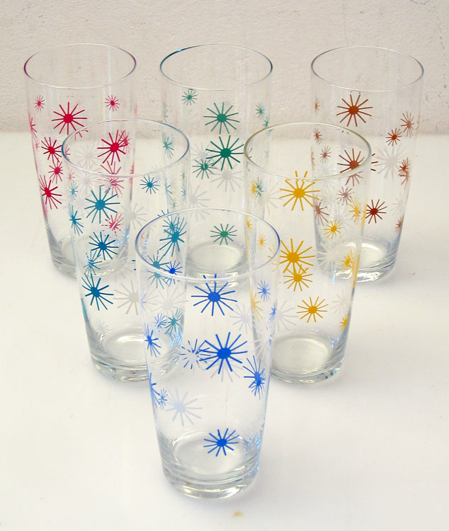 6 fifties retro cocktail long glasses