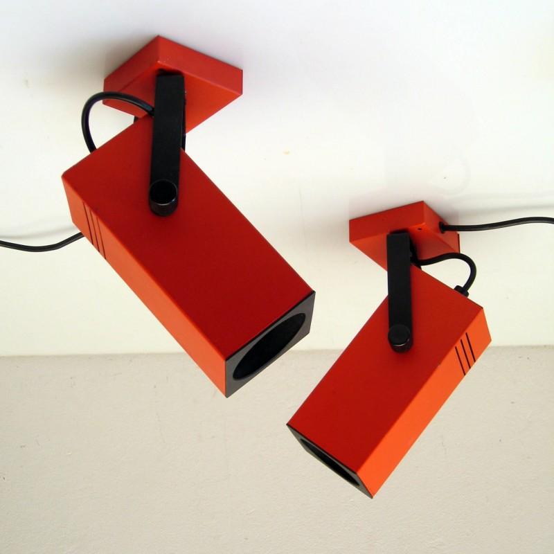 70s Philips adjustable spotlights, orange / red vintage retro