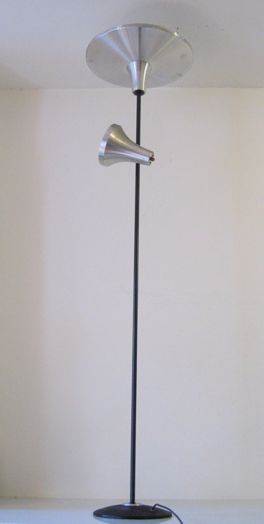 Aluminum floor lamp with two lights, 60s, vintage retro