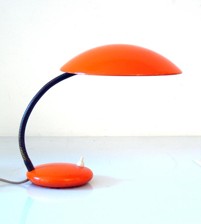 Bright orange sixties vintage desk lamp