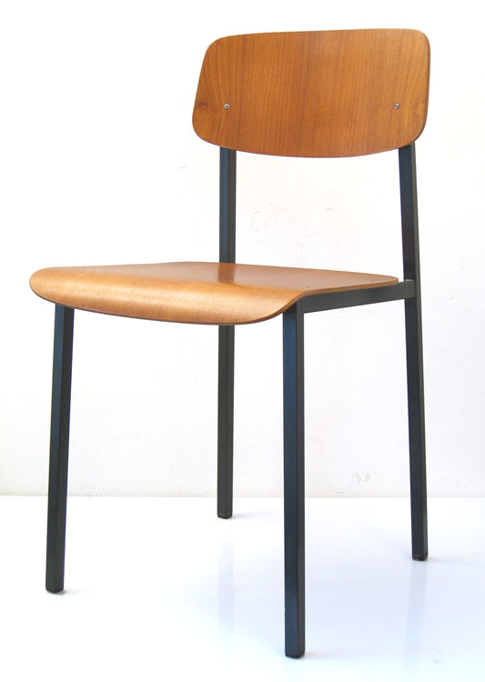 Chair, 60s, metal and plywood, vintage retro – BDF