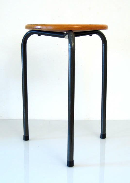 Fifties stool, wood and metal, vintage retro