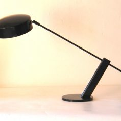 Hala table lamp, desk lamp, black metal, 70s, vintage retro