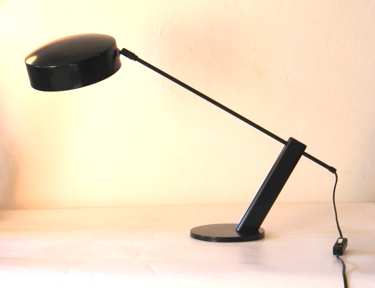Hala table lamp, desk lamp, black metal, 70s, vintage retro