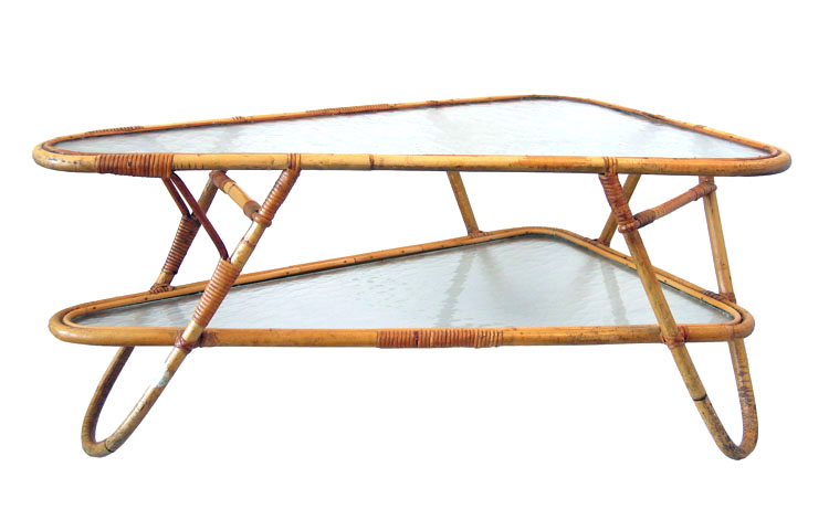 Retro Dutch design rotan cane coffee table