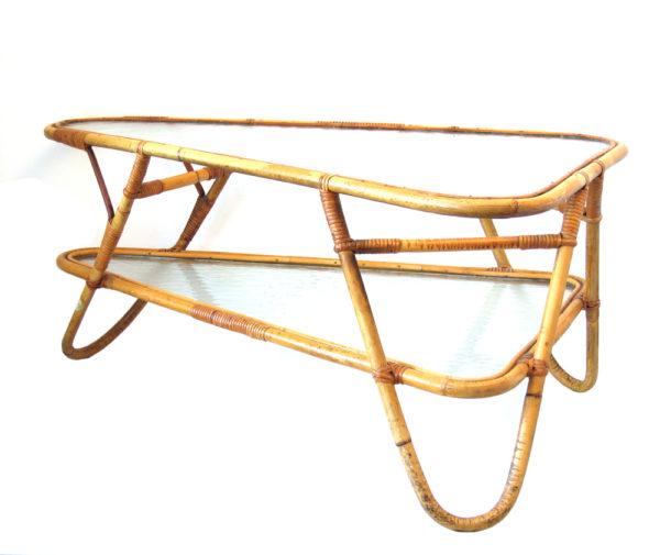 Retro Dutch design rotan cane coffee table