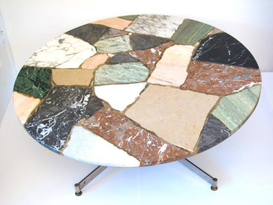 Sixties vintage round stone coffee table
