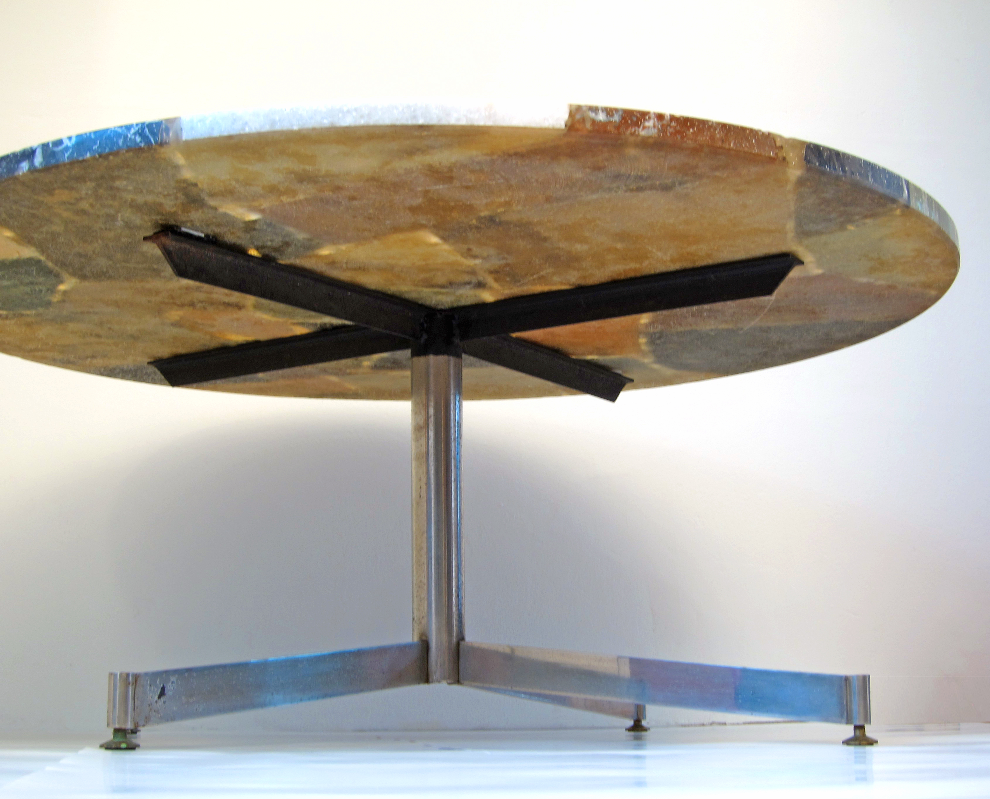 Sixties round stone coffee table