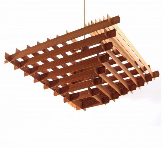 Large Hans Agne Jakobsson wooden fifties pendant lamp