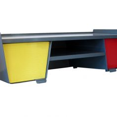 Jean Prouvé style red and yellow fifties desk design-furniture-retro