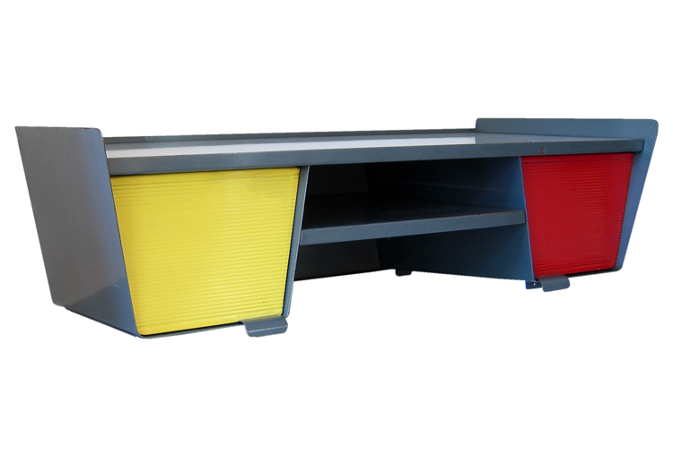 Jean Prouvé style red and yellow fifties desk