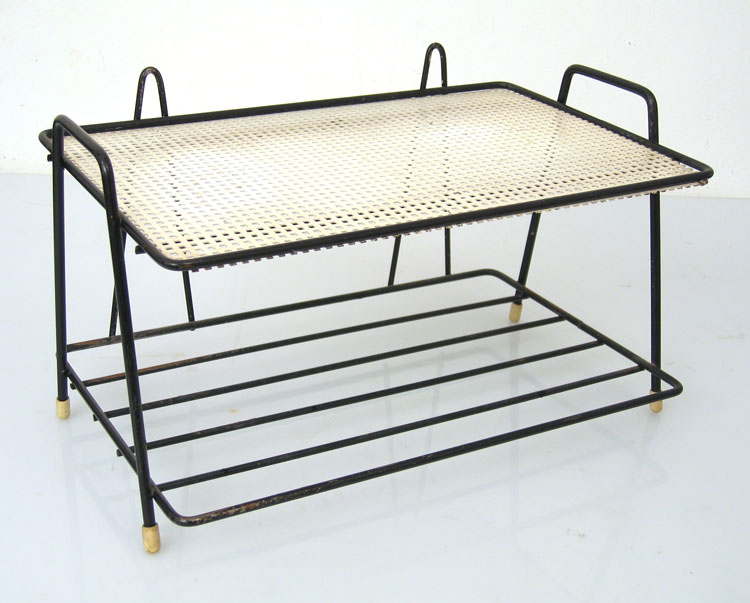 Kitchen rack, 50s, metal black and white vintage retro