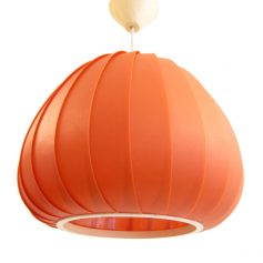 Large 60s orange plastic pendant lamp