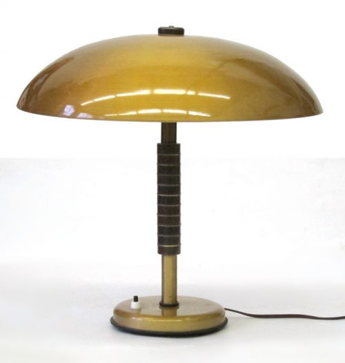 Large 60's vintage gold coloured table lamp