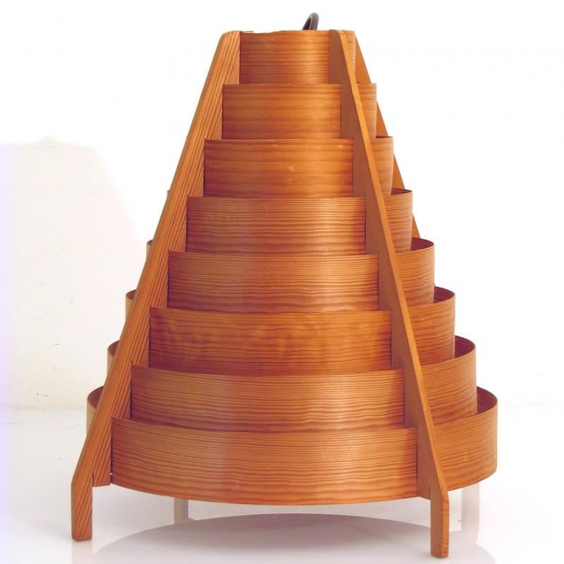 Large Hans Agne Jakobsson fifties wooden pendant lamp