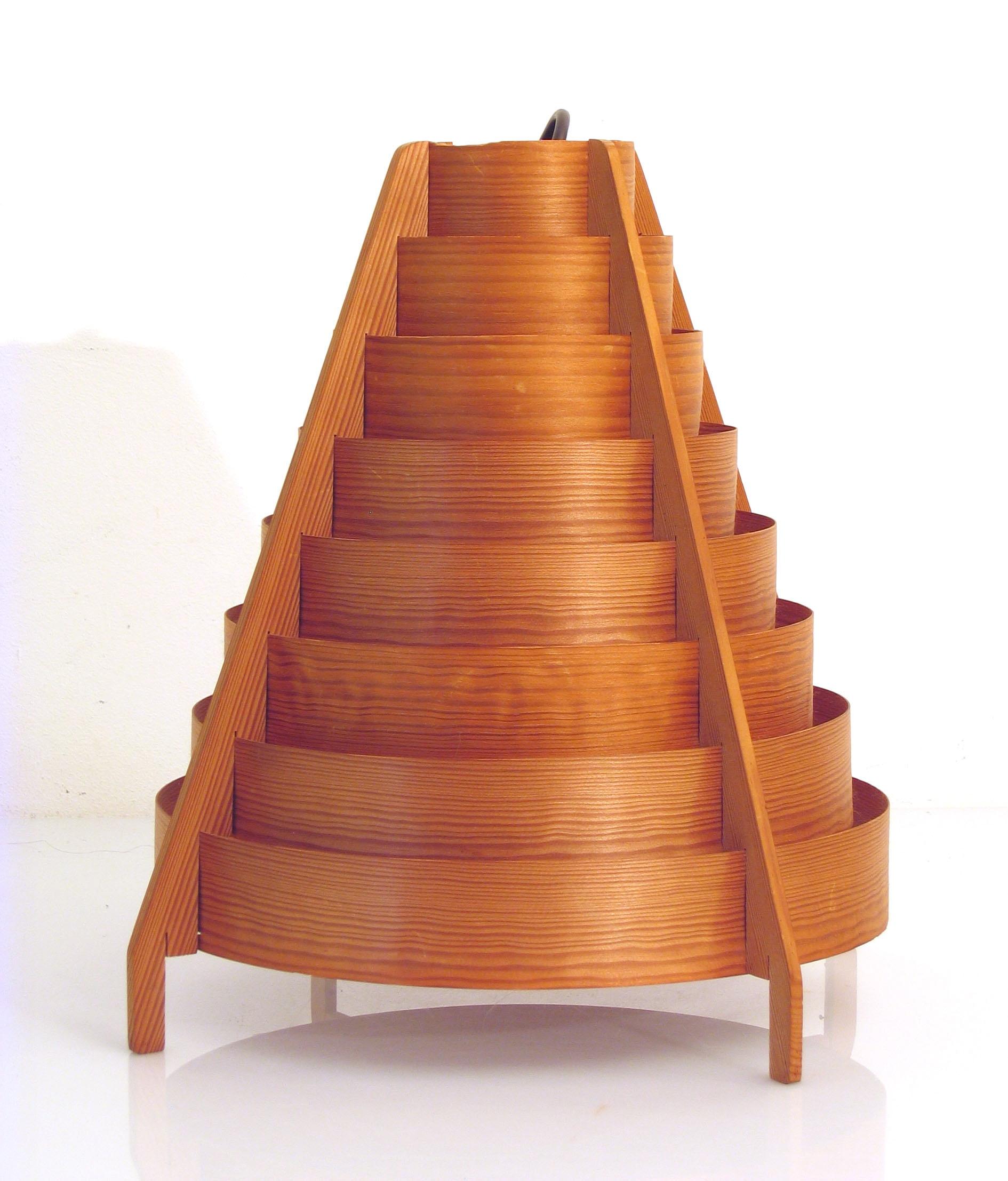 large hans agne jakobsson fifties wooden pendant lamp. Black Bedroom Furniture Sets. Home Design Ideas