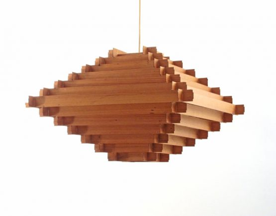 Large Hans Agne Jakobsson wooden fifties pendant lamp