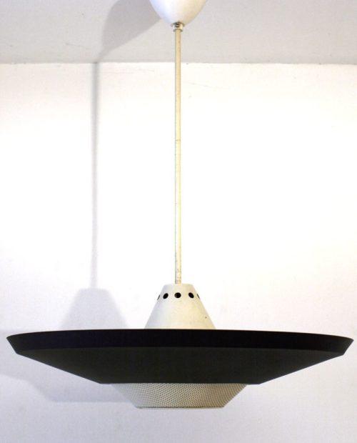 Large Louis Kalff Philips Mategot style retro pendant lamp