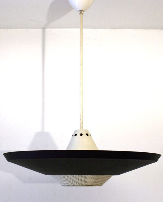 Large Louis Kalff Philips Mategot style retro pendant lamp