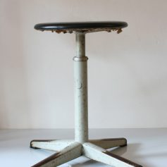 Metal adjustable stool, 60s, black vinyl, vintage, retro