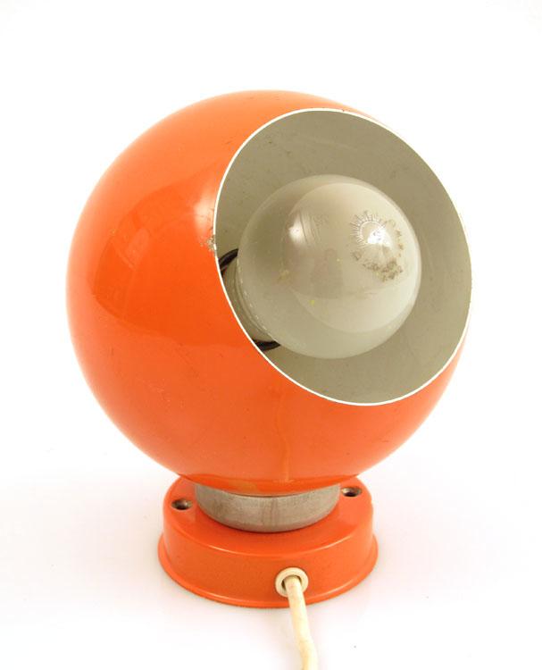 Orange Reggiani swivel spotlight, italian 60s, vintage retro