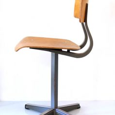 Plywood wooden school chair, 60s, vintage retro