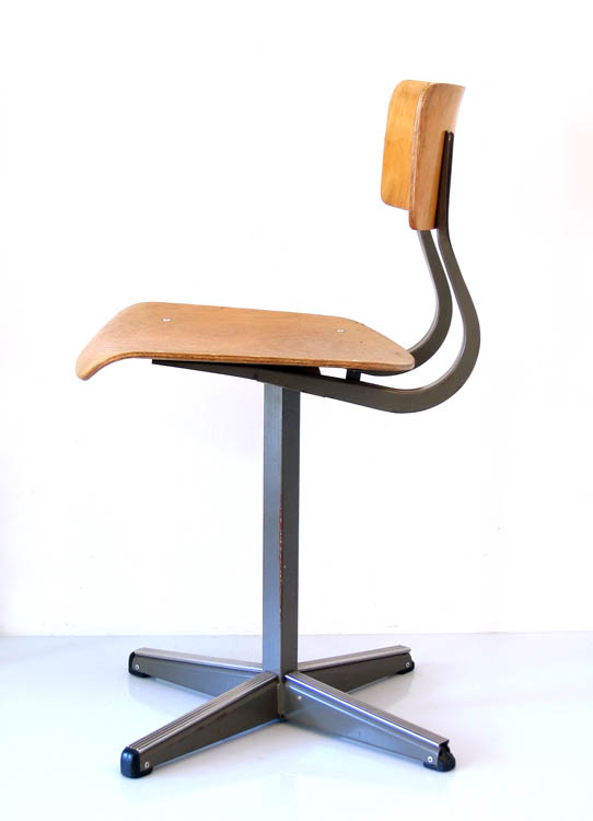 Plywood Wooden School Chair 60s Vintage Retro Bdf
