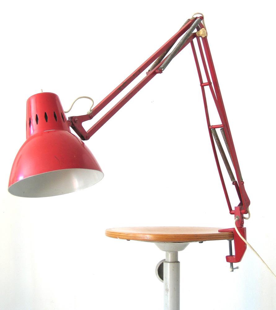 Red sixties retro vintage task light
