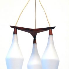 Scandinavian hanging wood and glass vintage retro 50s
