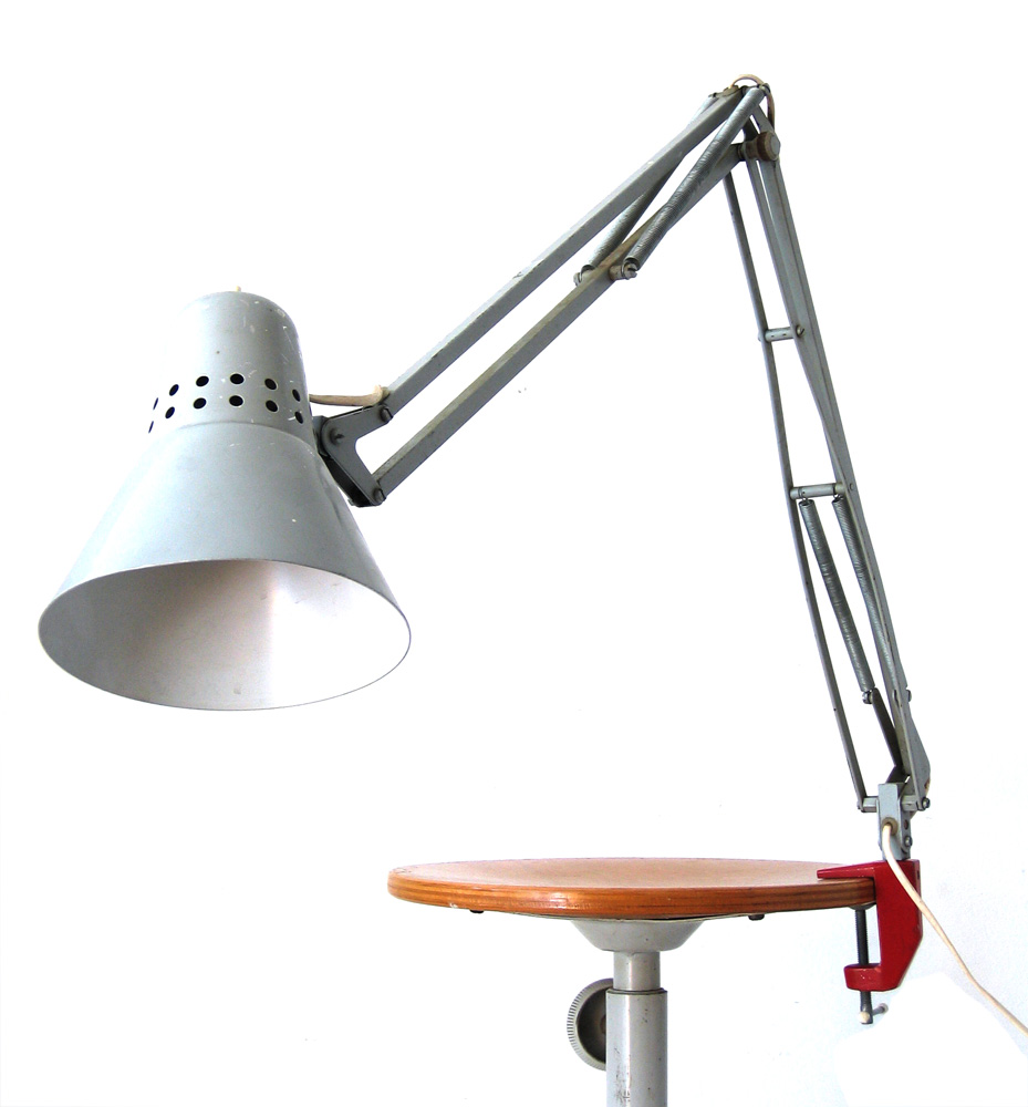 Sixties vintage grey industrial task light