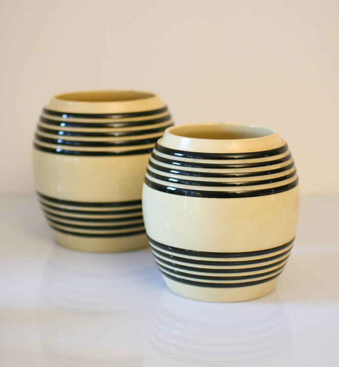 Two barrel shaped fifties vintage vases